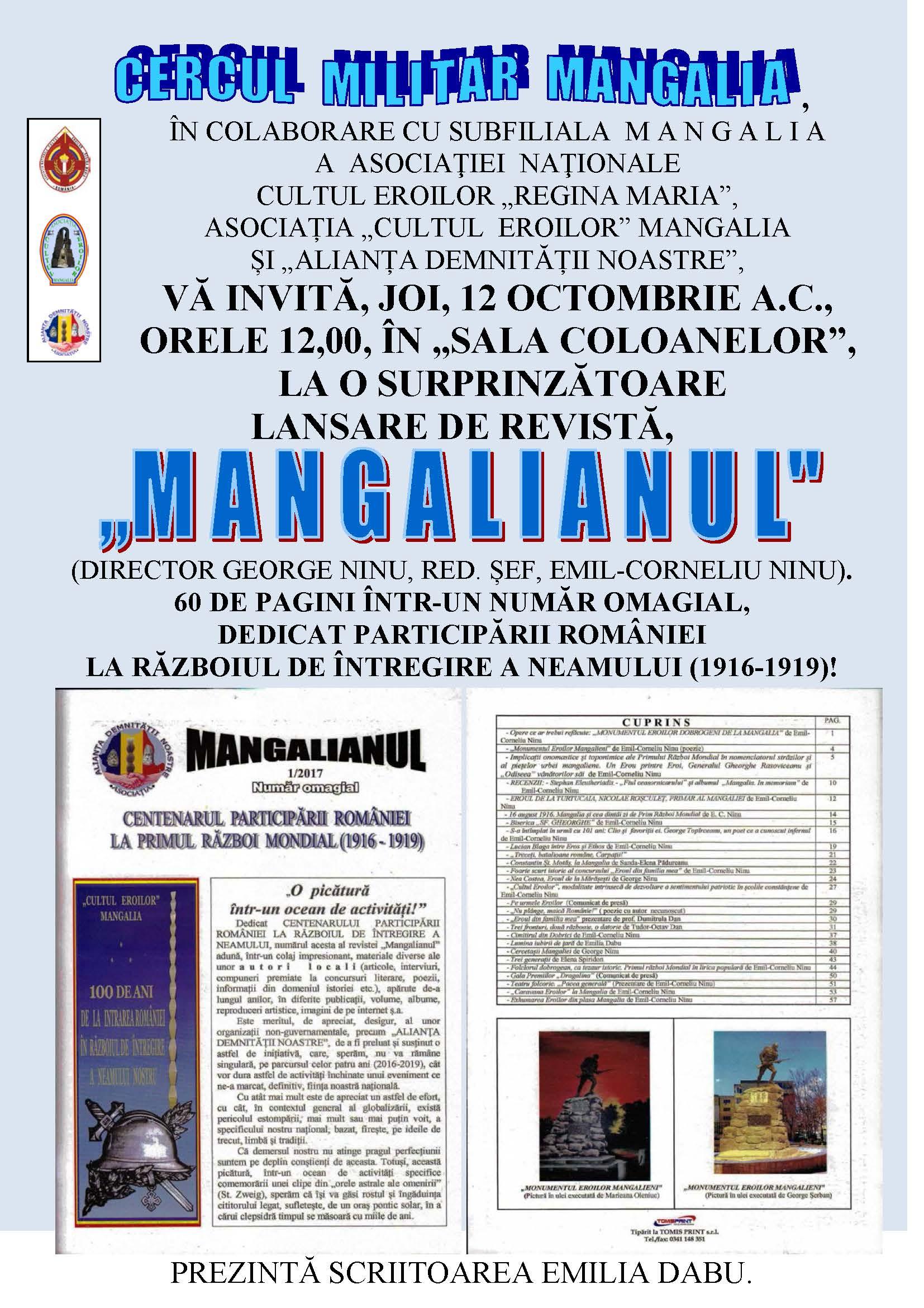"Lansare rev. ""MANGALIANUL"", 12.10.2017"